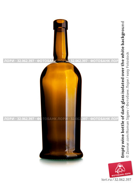 Empty wine bottle of dark glass isolated over the white background. Стоковое фото, фотограф Zoonar.com/Roman Sigaev / easy Fotostock / Фотобанк Лори