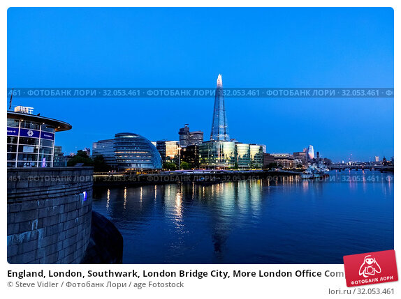 England, London, Southwark, London Bridge City, More London Office Complex and The Shard. Стоковое фото, фотограф Steve Vidler / age Fotostock / Фотобанк Лори