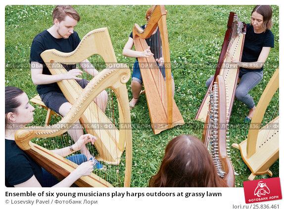 Купить «Ensemble of six young musicians play harps outdoors at grassy lawn», фото № 25836461, снято 19 июня 2016 г. (c) Losevsky Pavel / Фотобанк Лори