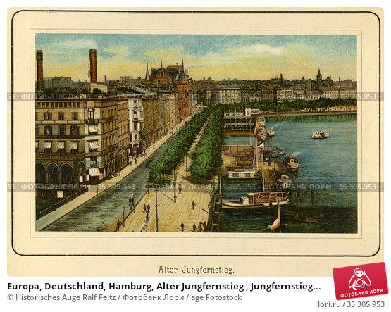 Europa, Deutschland, Hamburg, Alter Jungfernstieg , Jungfernstieg... Редакционное фото, фотограф Historisches Auge Ralf Feltz / age Fotostock / Фотобанк Лори