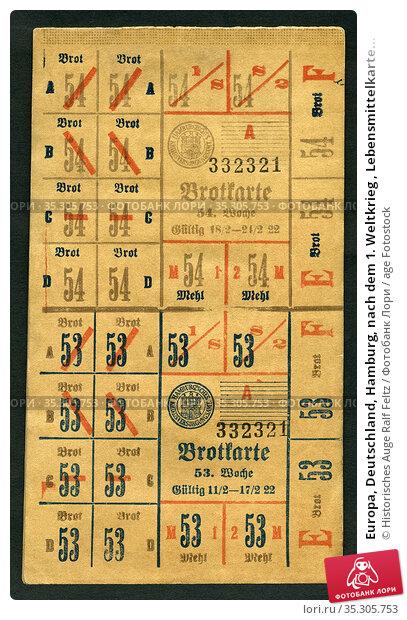 Europa, Deutschland, Hamburg, nach dem 1. Weltkrieg , Lebensmittelkarte... Редакционное фото, фотограф Historisches Auge Ralf Feltz / age Fotostock / Фотобанк Лори