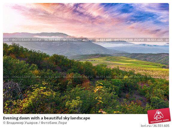 Evening dawn with a beautiful sky landscape. Стоковое фото, фотограф Владимир Ушаров / Фотобанк Лори