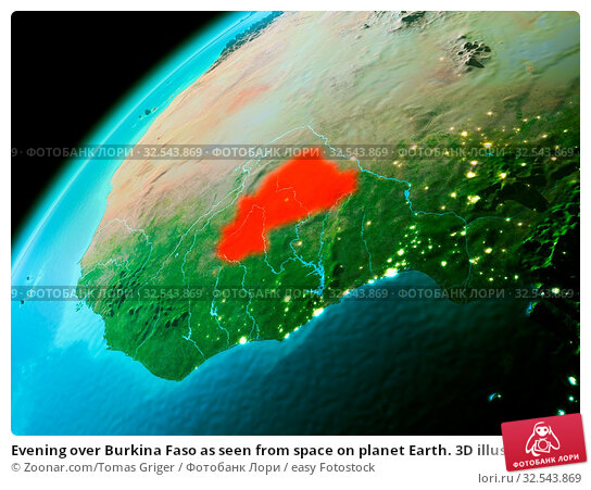 Купить «Evening over Burkina Faso as seen from space on planet Earth. 3D illustration. Elements of this image furnished by NASA.», фото № 32543869, снято 10 декабря 2019 г. (c) easy Fotostock / Фотобанк Лори