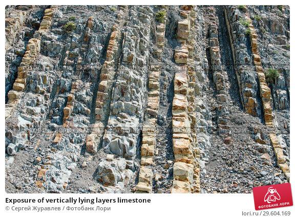 Купить «Exposure of vertically lying layers limestone», фото № 29604169, снято 22 июля 2018 г. (c) Сергей Журавлев / Фотобанк Лори