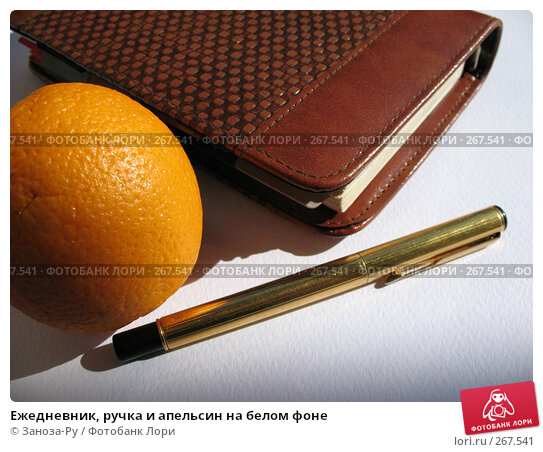 Ежедневник, ручка и апельсин на белом фоне, фото № 267541, снято 26 апреля 2008 г. (c) Заноза-Ру / Фотобанк Лори