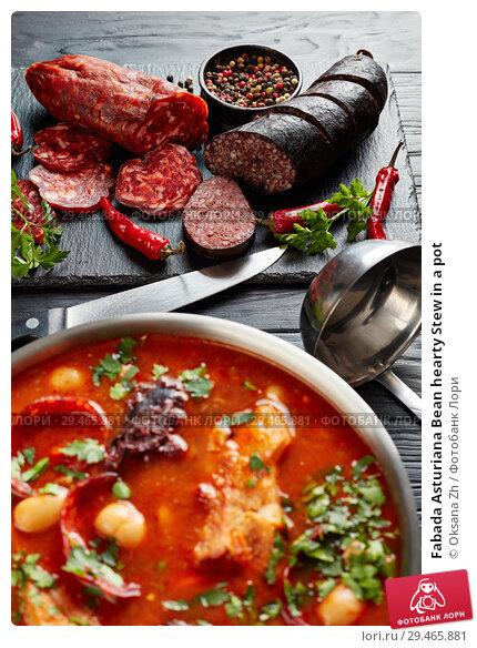Купить «Fabada Asturiana Bean hearty Stew in a pot», фото № 29465881, снято 19 ноября 2018 г. (c) Oksana Zh / Фотобанк Лори