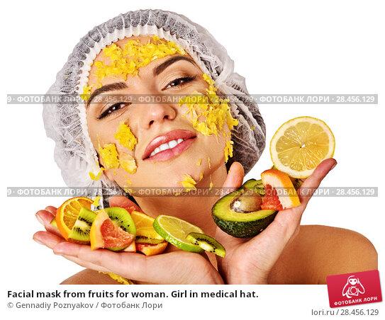 Купить «Facial mask from fruits for woman. Girl in medical hat.», фото № 28456129, снято 19 марта 2017 г. (c) Gennadiy Poznyakov / Фотобанк Лори