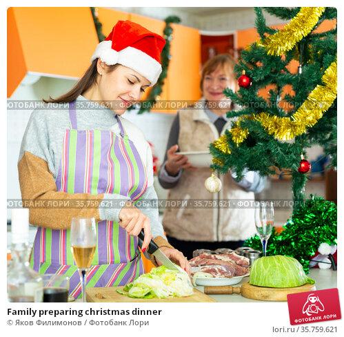 Family preparing christmas dinner. Стоковое фото, фотограф Яков Филимонов / Фотобанк Лори