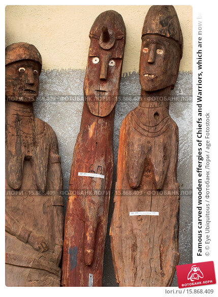 Купить «Famous carved wooden effergies of Chiefs and Warriors, which are now becoming rare as many have been stolen by art collectors», фото № 15868409, снято 24 июля 2008 г. (c) age Fotostock / Фотобанк Лори