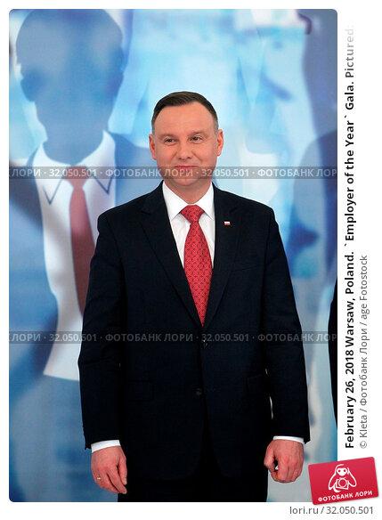 February 26, 2018 Warsaw, Poland. `Employer of the Year` Gala. Pictured: President of Poland Andrzej Duda. Редакционное фото, фотограф Kleta / age Fotostock / Фотобанк Лори