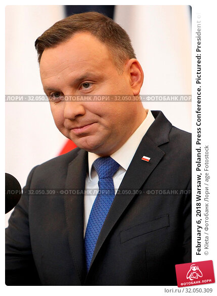 February 6, 2018 Warsaw, Poland. Press Conference. Pictured: President of Poland Andrzej Duda. Редакционное фото, фотограф Kleta / age Fotostock / Фотобанк Лори