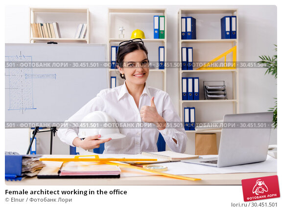 Female architect working in the office. Стоковое фото, фотограф Elnur / Фотобанк Лори