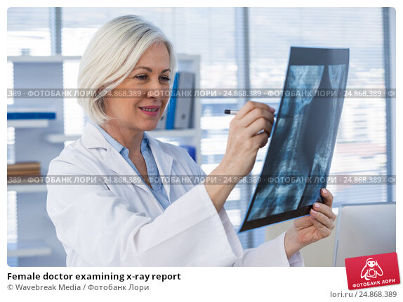 Купить «Female doctor examining x-ray report», фото № 24868389, снято 25 августа 2016 г. (c) Wavebreak Media / Фотобанк Лори