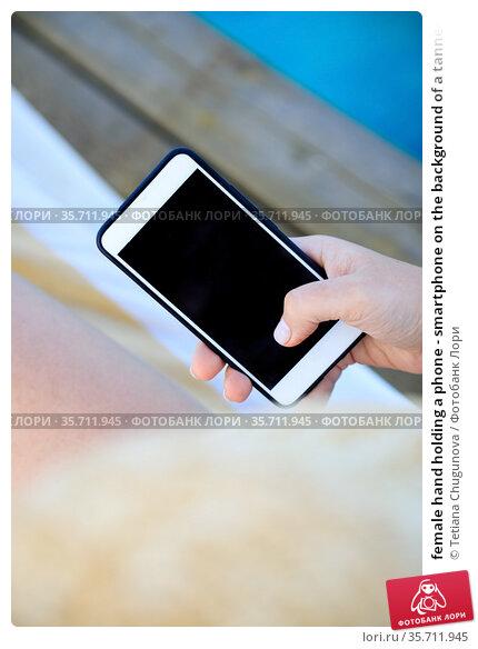 female hand holding a phone - smartphone on the background of a tanned leg on a blue sea lounger. Стоковое фото, фотограф Tetiana Chugunova / Фотобанк Лори