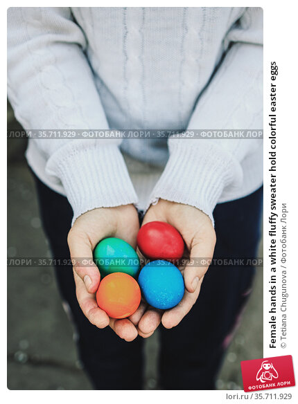 Female hands in a white fluffy sweater hold colorful easter eggs. Стоковое фото, фотограф Tetiana Chugunova / Фотобанк Лори