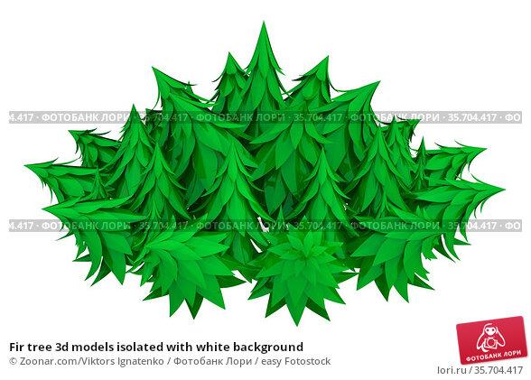 Fir tree 3d models isolated with white background. Стоковое фото, фотограф Zoonar.com/Viktors Ignatenko / easy Fotostock / Фотобанк Лори