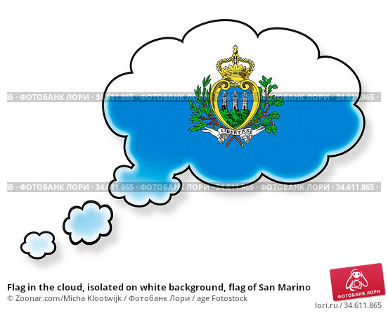 Flag in the cloud, isolated on white background, flag of San Marino. Стоковое фото, фотограф Zoonar.com/Micha Klootwijk / age Fotostock / Фотобанк Лори
