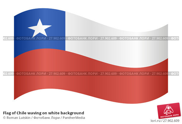 Купить «Flag of Chile waving on white background», иллюстрация № 27902609 (c) PantherMedia / Фотобанк Лори