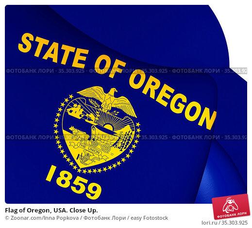 Flag of Oregon, USA. Close Up. Стоковое фото, фотограф Zoonar.com/Inna Popkova / easy Fotostock / Фотобанк Лори