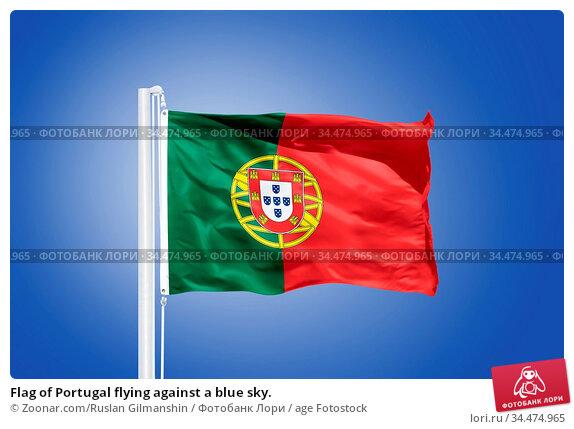 Flag of Portugal flying against a blue sky. Стоковое фото, фотограф Zoonar.com/Ruslan Gilmanshin / age Fotostock / Фотобанк Лори