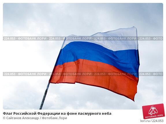 Флаг Российской Федерации на фоне пасмурного неба, эксклюзивное фото № 224053, снято 15 марта 2008 г. (c) Сайганов Александр / Фотобанк Лори