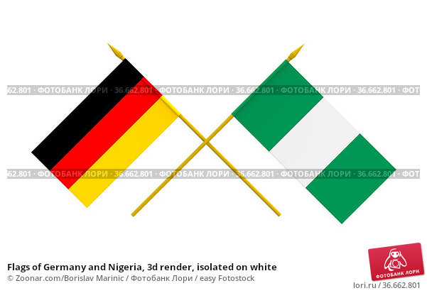Flags of Germany and Nigeria, 3d render, isolated on white. Стоковое фото, фотограф Zoonar.com/Borislav Marinic / easy Fotostock / Фотобанк Лори