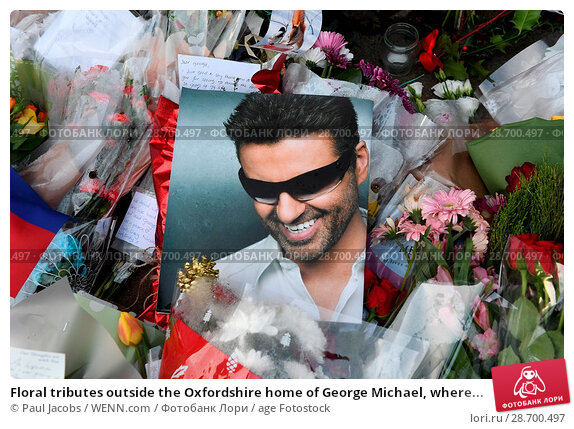 Купить «Floral tributes outside the Oxfordshire home of George Michael, where he was found dead on Christmas Day at Goring-on-Thames Featuring: Atmosphere Where...», фото № 28700497, снято 28 декабря 2016 г. (c) age Fotostock / Фотобанк Лори