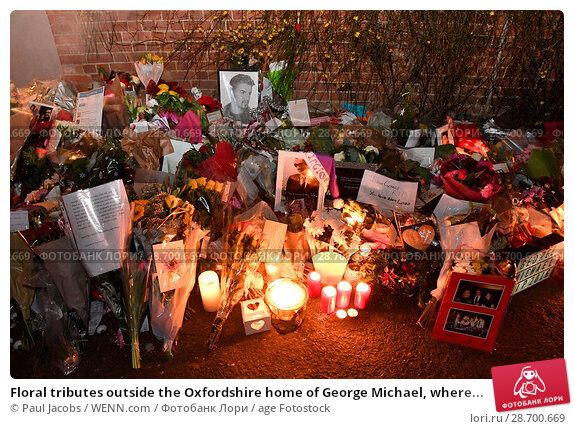 Купить «Floral tributes outside the Oxfordshire home of George Michael, where he was found dead on Christmas Day at Goring-on-Thames Featuring: Atmosphere Where...», фото № 28700669, снято 28 декабря 2016 г. (c) age Fotostock / Фотобанк Лори