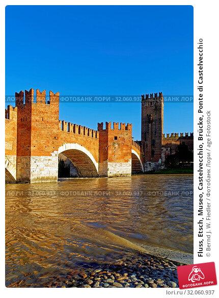 Fluss, Etsch, Museo, Castelvecchio, Brücke, Ponte di Castelvecchio. Стоковое фото, фотограф Bernd J. W. Fiedler / age Fotostock / Фотобанк Лори