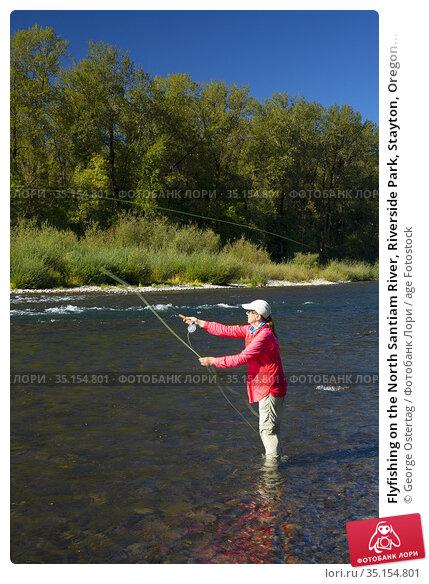 Flyfishing on the North Santiam River, Riverside Park, Stayton, Oregon... Стоковое фото, фотограф George Ostertag / age Fotostock / Фотобанк Лори