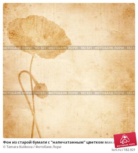 """Фон из старой бумаги с """"напечатанным"""" цветком мака, иллюстрация № 182921 (c) Tamara Kulikova / Фотобанк Лори"""
