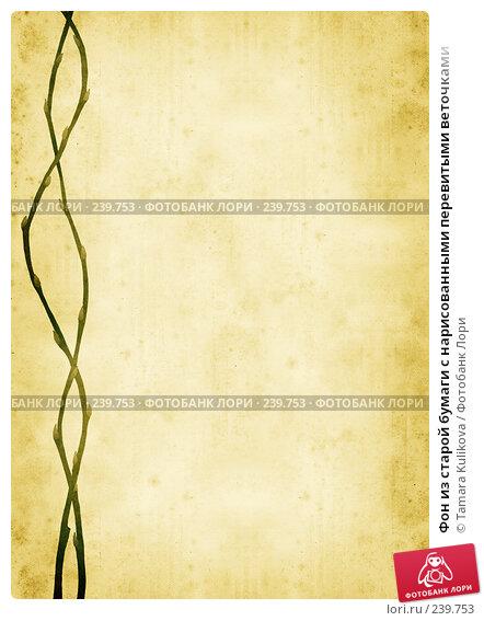 Фон из старой бумаги с нарисованными перевитыми веточками, иллюстрация № 239753 (c) Tamara Kulikova / Фотобанк Лори