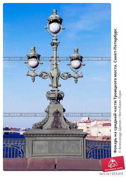 Фонарь на средней части Троицкого моста. Санкт-Петербург., эксклюзивное фото № 313013, снято 24 мая 2008 г. (c) Александр Щепин / Фотобанк Лори