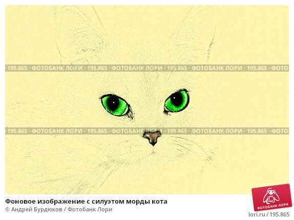 Купить «Фоновое изображение с силуэтом морды кота», фото № 195865, снято 20 апреля 2018 г. (c) Андрей Бурдюков / Фотобанк Лори
