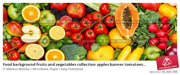 Food background fruits and vegetables collection apples banner tomatoes... Стоковое фото, фотограф Markus Mainka / easy Fotostock / Фотобанк Лори