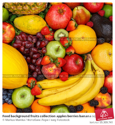 Food background fruits collection apples berries banana square oranges... Стоковое фото, фотограф Markus Mainka / easy Fotostock / Фотобанк Лори