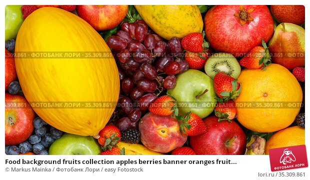 Food background fruits collection apples berries banner oranges fruit... Стоковое фото, фотограф Markus Mainka / easy Fotostock / Фотобанк Лори