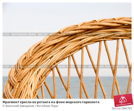 Фрагмент кресла из ротанга на фоне морского горизонта, фото № 264721, снято 22 мая 2007 г. (c) Анатолий Заводсков / Фотобанк Лори
