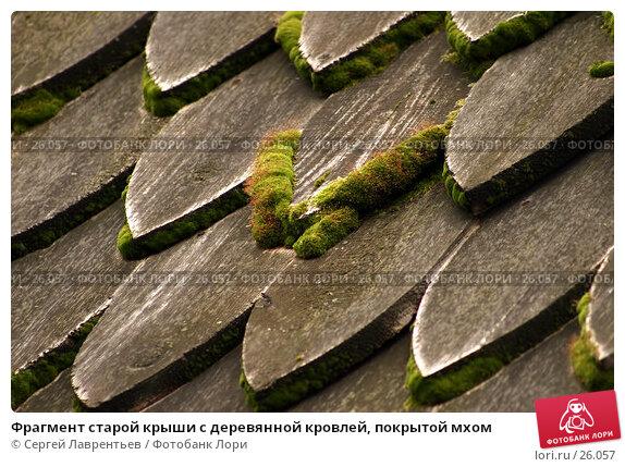 Купить «Фрагмент старой крыши с деревянной кровлей, покрытой мхом», фото № 26057, снято 18 сентября 2005 г. (c) Сергей Лаврентьев / Фотобанк Лори