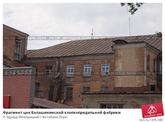 Фрагмент цех Балашихинской хлопкопрядильной фабрики, фото № 315149, снято 29 мая 2008 г. (c) Эдуард Межерицкий / Фотобанк Лори