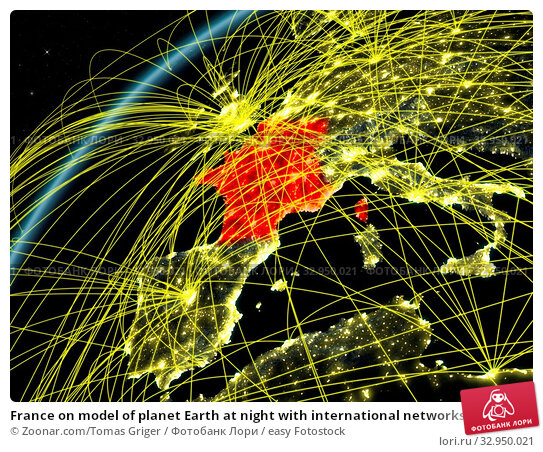 France on model of planet Earth at night with international networks. Concept of digital communication and technology. 3D illustration. Elements of this image furnished by NASA. Стоковое фото, фотограф Zoonar.com/Tomas Griger / easy Fotostock / Фотобанк Лори