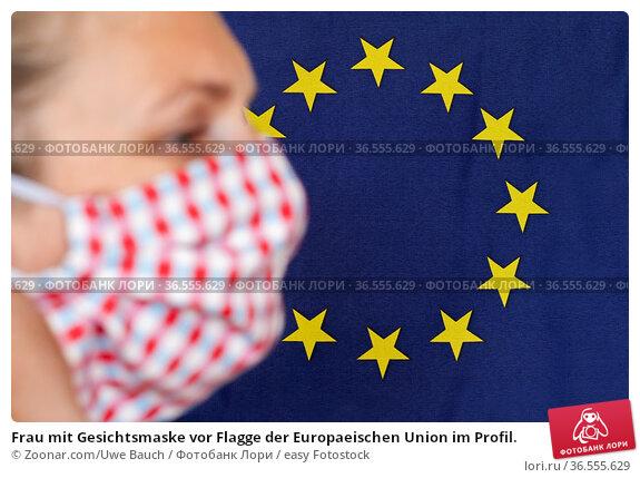 Frau mit Gesichtsmaske vor Flagge der Europaeischen Union im Profil. Стоковое фото, фотограф Zoonar.com/Uwe Bauch / easy Fotostock / Фотобанк Лори