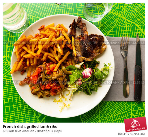 French dish, grilled lamb ribs. Стоковое фото, фотограф Яков Филимонов / Фотобанк Лори