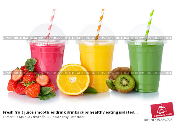 Fresh fruit juice smoothies drink drinks cups healthy eating isolated... Стоковое фото, фотограф Markus Mainka / easy Fotostock / Фотобанк Лори