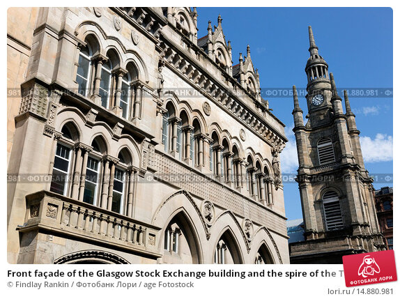 Купить «Front façade of the Glasgow Stock Exchange building and the spire of the Tron Church, Nelson Mandela Square, Glasgow, Strathclyde, Scotland, UK.», фото № 14880981, снято 14 декабря 2018 г. (c) age Fotostock / Фотобанк Лори