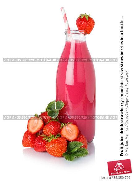 Fruit juice drink strawberry smoothie straw strawberries in a bottle... Стоковое фото, фотограф Markus Mainka / easy Fotostock / Фотобанк Лори