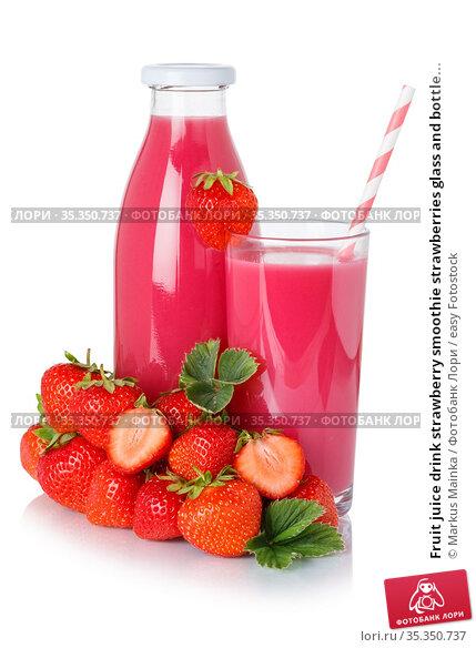 Fruit juice drink strawberry smoothie strawberries glass and bottle... Стоковое фото, фотограф Markus Mainka / easy Fotostock / Фотобанк Лори
