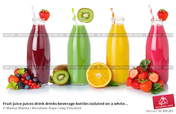Fruit juice juices drink drinks beverage bottles isolated on a white... Стоковое фото, фотограф Markus Mainka / easy Fotostock / Фотобанк Лори