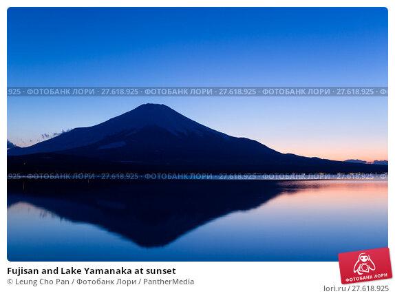 Купить «Fujisan and Lake Yamanaka at sunset», фото № 27618925, снято 22 марта 2019 г. (c) PantherMedia / Фотобанк Лори