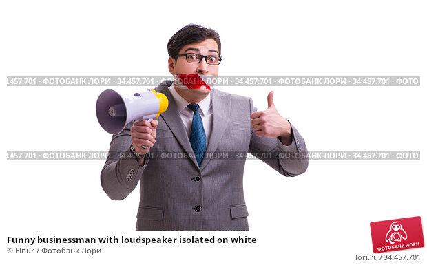 Funny businessman with loudspeaker isolated on white. Стоковое фото, фотограф Elnur / Фотобанк Лори